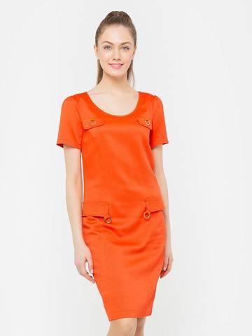 Фото оранжевое приталенное платье с имитацией карманов из вискозы - Платье З104-523 (1)
