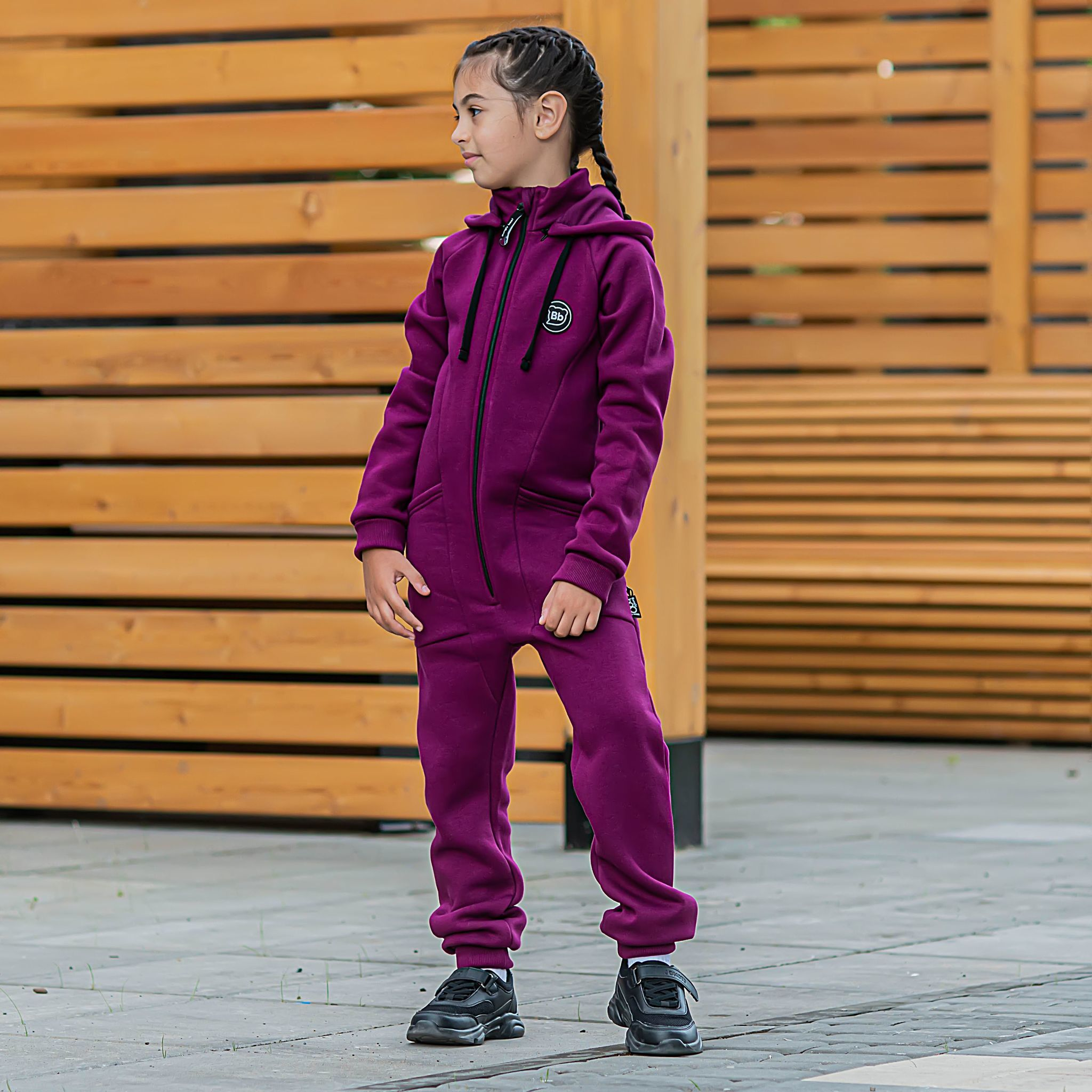 Transformer jumpsuit with flap for teens - Plum