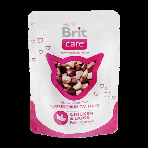 Brit Care Cat Консервы для кошек с курицей и уткой (пауч)
