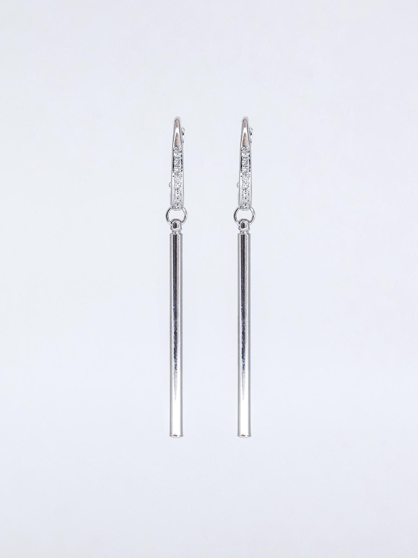 Серьги - палочки с фианитами  оптом и в розницу