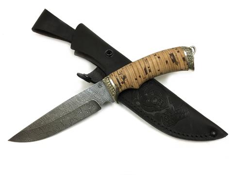 Нож Легионер, дамасская сталь, береста