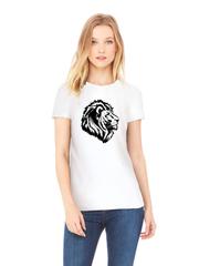 Футболка с принтом Лев (Lion) белая w008