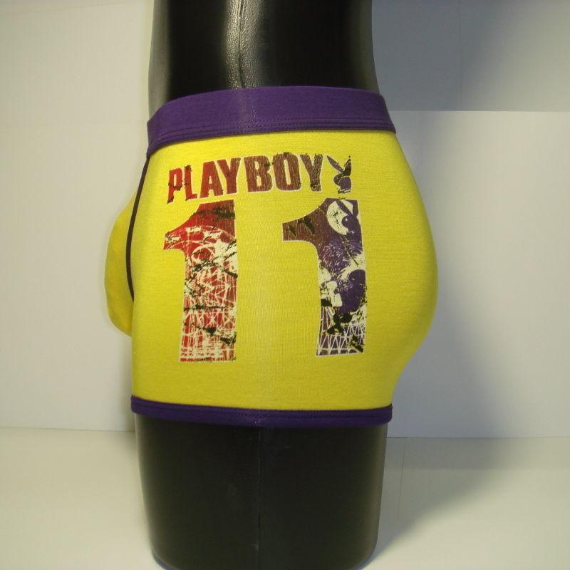 Мужские трусы боксеры желтые с синей окантовкой PLAYBOY PB013