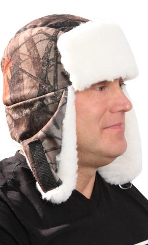 Шапка-ушанка тк.Алова Лес на флисе (опушка белый мех)