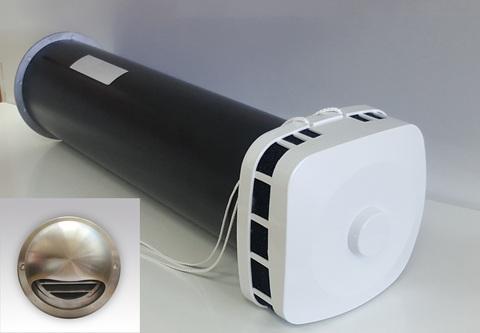 КИВ 125 0.5м с выходом стенным из нержавеющей стали и квадратным оголовком