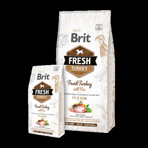 Brit Fresh Turkey & Pea Light Fit & Slim Сухой корм для собак контроль веса Индейка с грохом