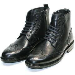 Кожаные зимние ботинки на меху мужские Luciano Bellini BC3801 L-Black.