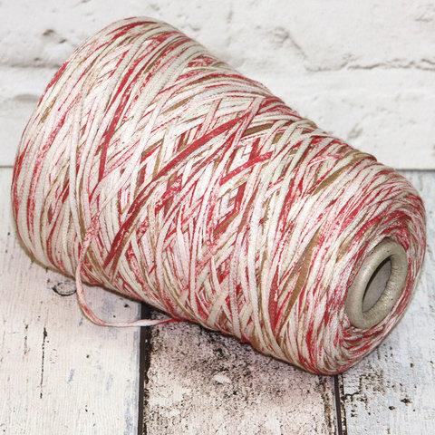Ленточка хлопок FILATI RICCIO / RAW бело-розовый