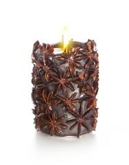 Свеча-эко ручной работы SPICY NIGHT dark со звездочками аниса, d 8 h 10 см/ круглая TM Aromatte