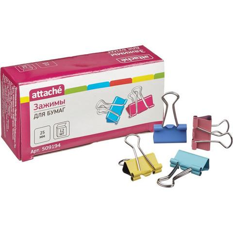 Зажимы для бумаг Attache 25 мм цветные (12 штук в упаковке)