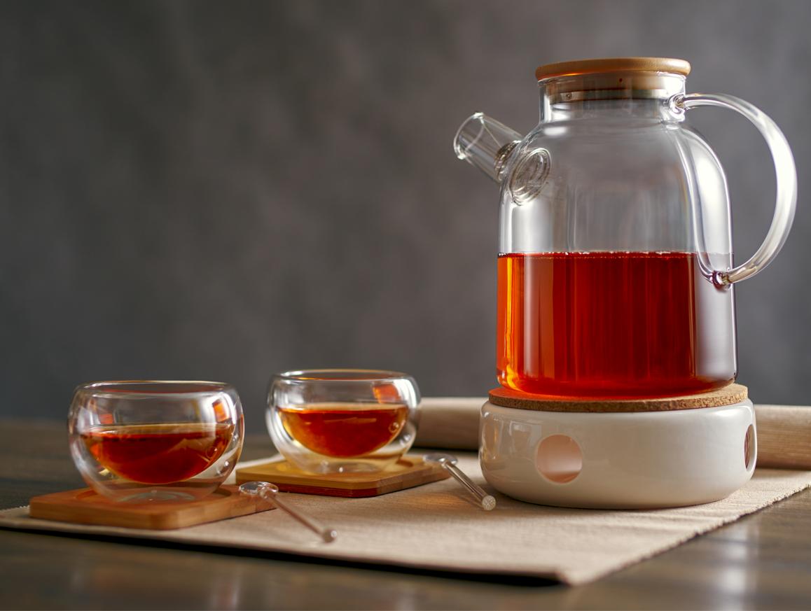 Стеклянные заварочные чайники Чайник с подогревом от свечи на керамической подставке, 1,5 литра bochonok1500-nabor.PNG