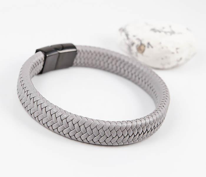 BM531-4 Серый мужской браслет из плетеной кожи фото 03