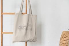 Сумка-шоппер с принтом BMW (БМВ) бежевая 008