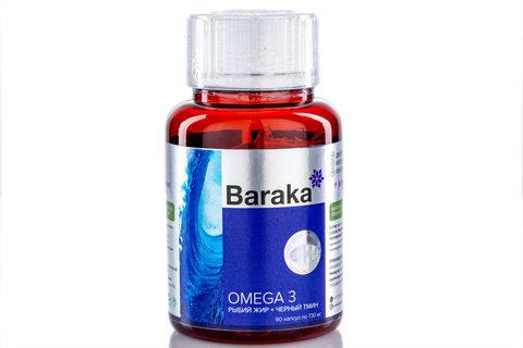 Baraka, OMEGA-3 (Рыбий жир и Масло черного тмина в капсулах), 90кап