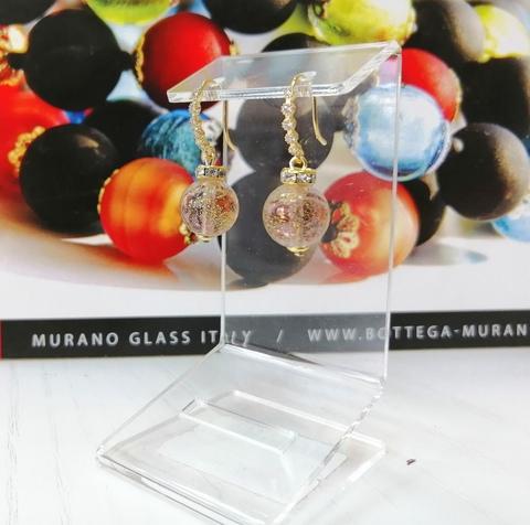 Серьги из муранского стекла со стразами Allegra Ca'D'oro Amethyst Gold CC040O
