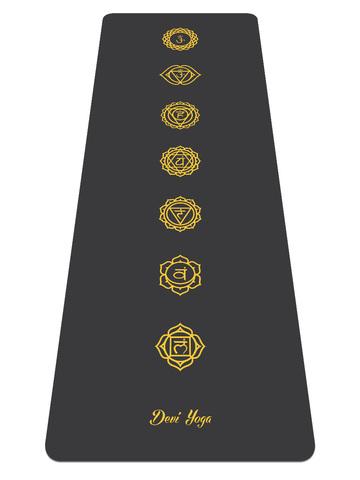 Каучуковый йога коврик DY Chakras Black 185*68*0,4 см