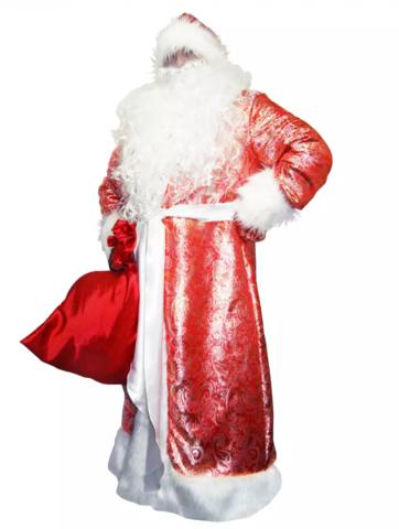 Дед Мороз парчовый красный