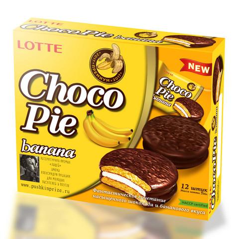 Пирожное Lotte Choco Pie банановое 336 г (12 штук в упаковке)