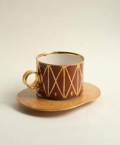 Кофейная пара терракотовая с золотом
