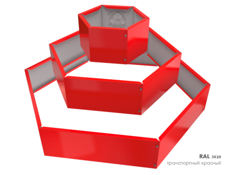 Клумба многоугольная оцинкованная Альпийская горка 3 яруса RAL 3020 Транспортный красный