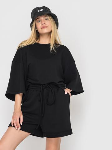 Костюм футер трехнитка (шорты и футболка) черный YOS