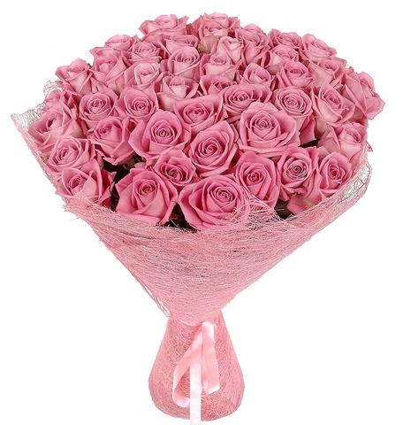 Букет из 55 розовых роз