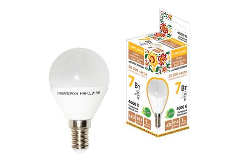 Лампа светодиодная FG45-7 Вт-230 В-4000 К–E14 Народная