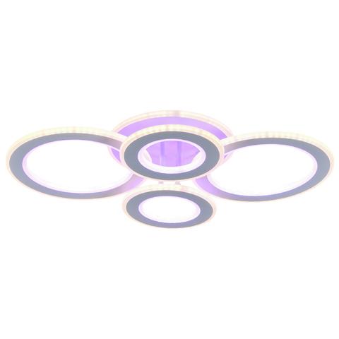 Люстра Светодиодная Profit light 8005/2+2 WHT (BL+YL) 116+84W Белый+Многоцветная подсветка основания с Пультом