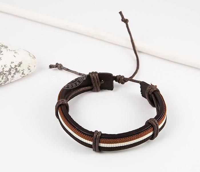 SL0051-BRN Стильный мужской браслет на завязках из натуральной кожи, «Spikes» фото 03