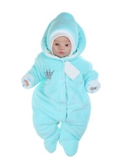 Велюровый утепленный комбинезон для новорожденных с шапкой Принц ментол