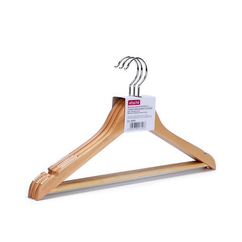 Вешалка-плечики деревянная Attache с выемками и перекладиной натуральная (размер 46, 3 штуки в упаковке)