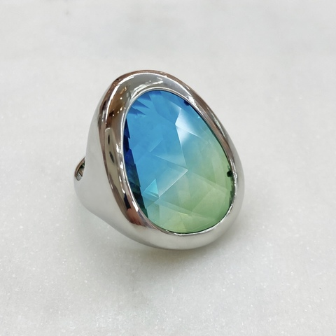 Кольцо Vi капля хрусталь сине-зеленый