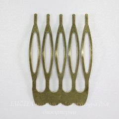 Гребень, основа для заколки 39х26 мм (цвет - античная бронза)