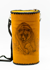 Фляга «Медведь», натуральная кожа с художественным выжиганием, 2 л, фото 1