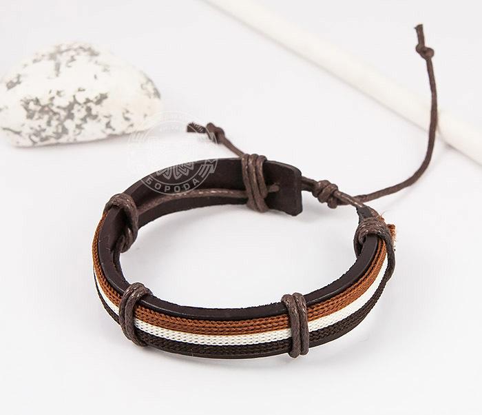 SL0051-BRN Стильный мужской браслет на завязках из натуральной кожи, «Spikes» фото 04