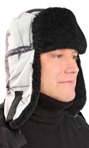 Шапка-ушанка флисовая Белый лес с черной меховой опушкой