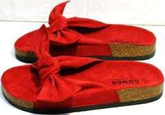 Модные женские шлепанцы красные с бантом Comer SAR-15 Red.