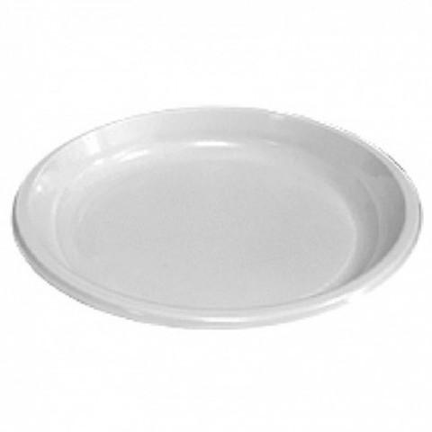 Тарелка пластиковая бессекц. (16г) белая ПП D=220 мм