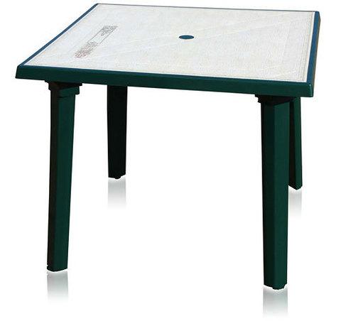 Пластиковый квадратный стол с рисунком зеленый
