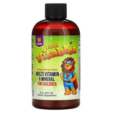 Детская жидкая добавка с мультивитаминами и минералами, без спирта, вкус апельсина и манго Vitables
