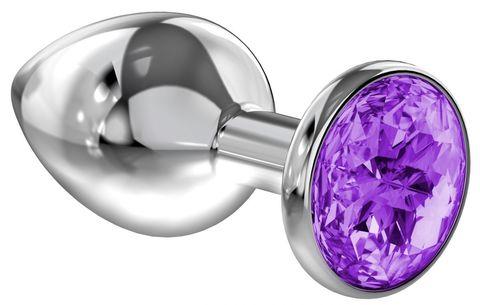 Малая серебристая анальная пробка Diamond Purple Sparkle Small с фиолетовым кристаллом - 7 см.