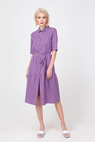 Фото сиреневое платье с воланом приталенное поясом в мелкую полоску - Платье З366а-307 (1)
