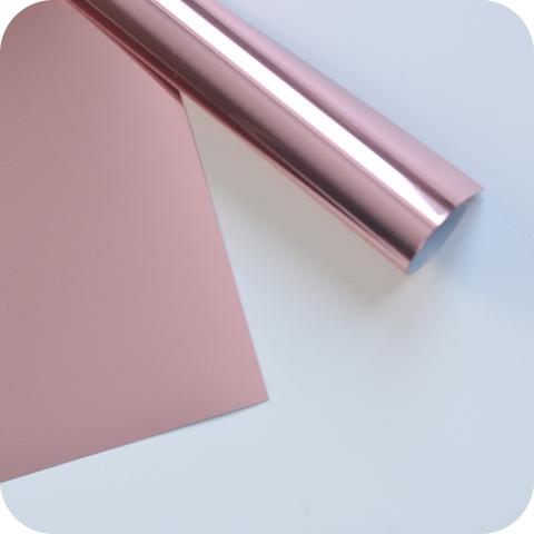 Термотрансферная пленка металлик (с эффектом фольгирования) розовое золото 25х25 см