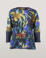 Блузка Katex туника цветы трикотаж кож.отделка