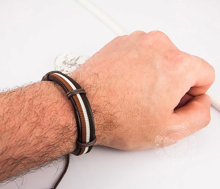 SL0051-BRN Стильный мужской браслет на завязках из натуральной кожи, «Spikes» фото 07