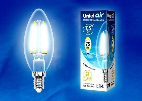 Uniel Лампа LED-C35-7,5W/NW/E14/CL Air (свеча белый свет)