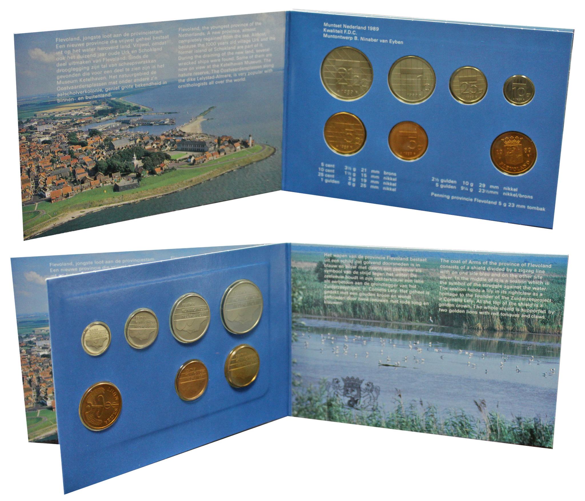 Набор монет Нидерландов 1989 UNC в оригинальной упаковке