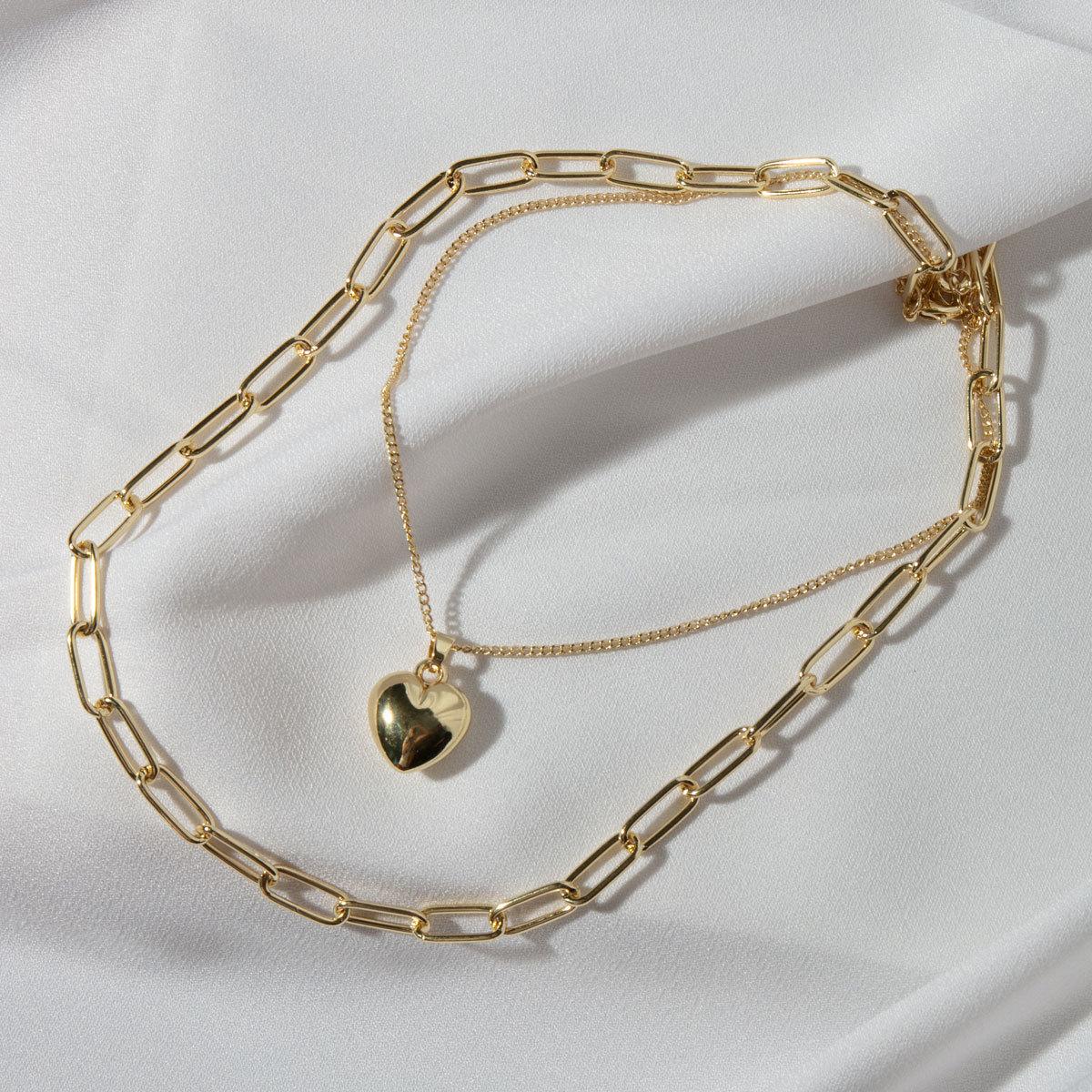 Колье двухрядное с цепью и кулоном-сердечком (золотистый)