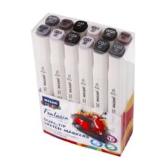 Mazari Fantasia White набор маркеров для скетчинга 12 шт двусторонние спиртовые пуля/долото 2.5-6.2 мм (серые)