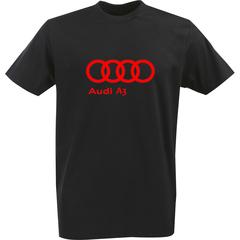 Футболка с однотонным принтом Ауди (Audi A3) черная 0044